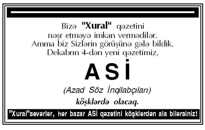 """""""Xural"""" ASİ ilə mətbuata qayıtdı"""