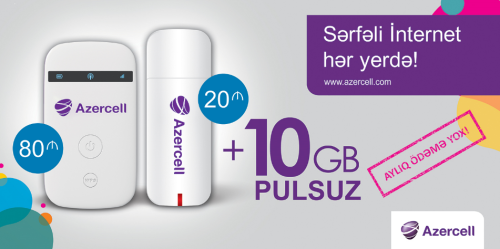 Azercell 10GB pulsuz