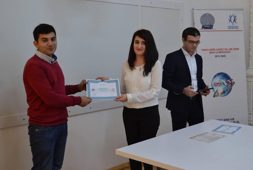 Xarici dillər üzrə Bakı Olimpiadasının qalibləri mükafatlandırıldı
