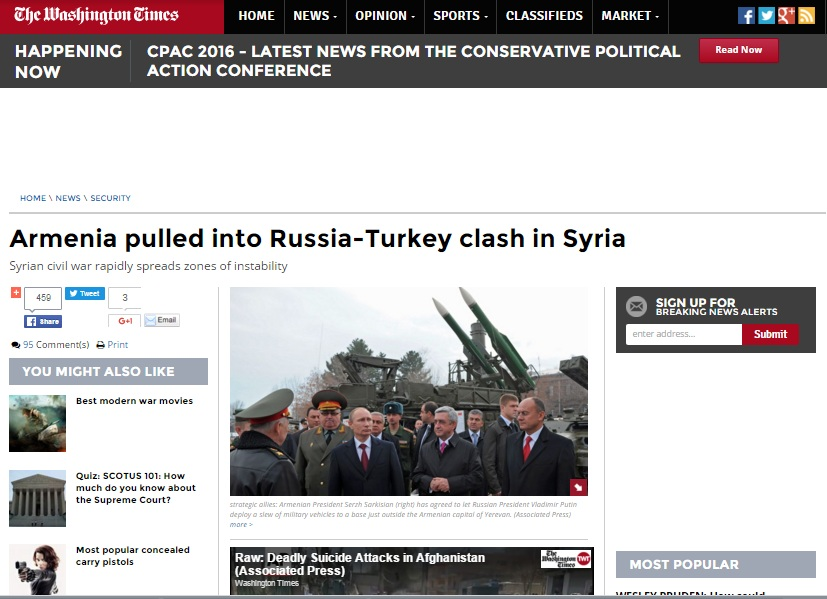 """Washington Times: """"Rusiya və Türkiyənin Suriyadakı qarşıdurmasına Ermənistan da cəlb olunur"""" FOTO/VİDEO"""