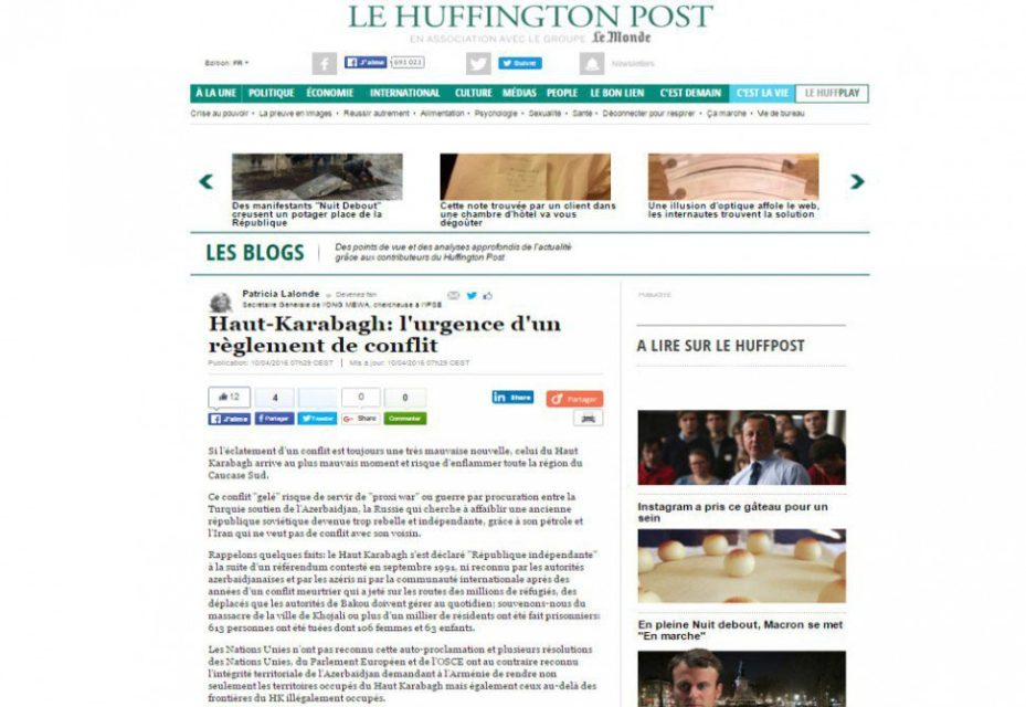 """""""Le Huffington Post"""":""""Dağlıq Qarabağ Azərbaycanın qanuni ərazisidir"""""""