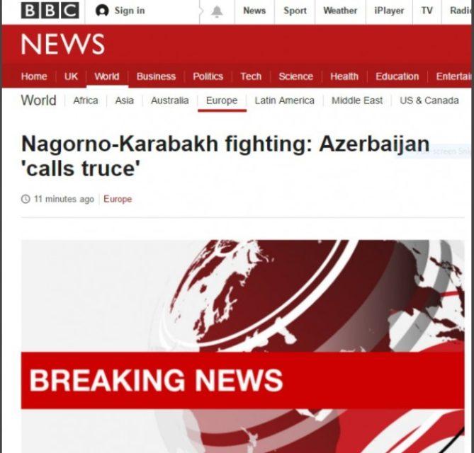 """""""BBC"""" cəbhə bölgəsindəki son hadisələrlə bağlı Azərbaycan Müdafiə Nazirliyinin açıqlamasını şərh edib"""