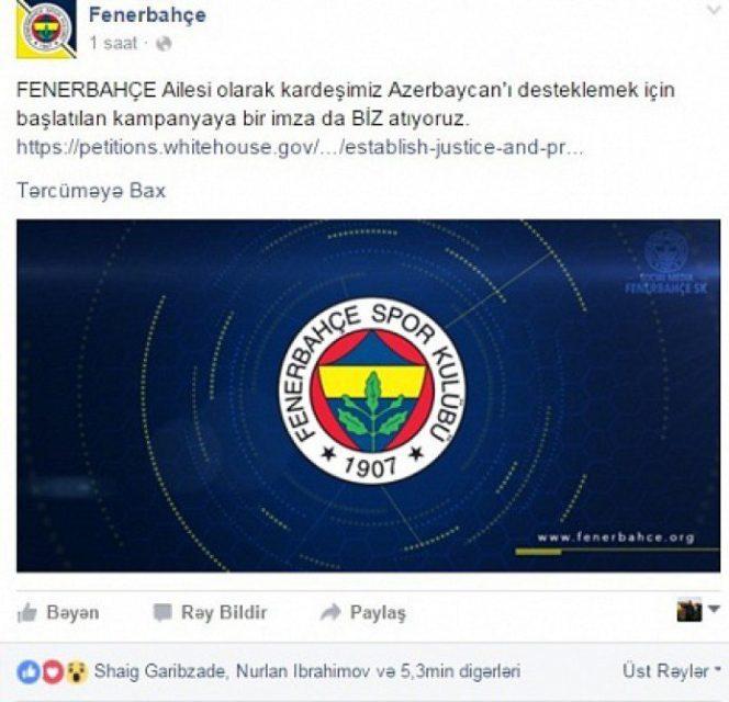 """""""Fənərbağça""""dan Azərbaycana dəstək"""