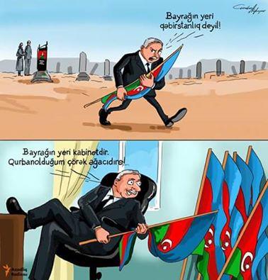 Şəhid ruhuna hörmətsizlik edən icra başçısının karikaturası hazırlandı-FOTO