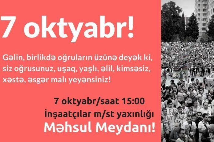 7 oktyabr mitinqinə razılıq verildi-FOTO