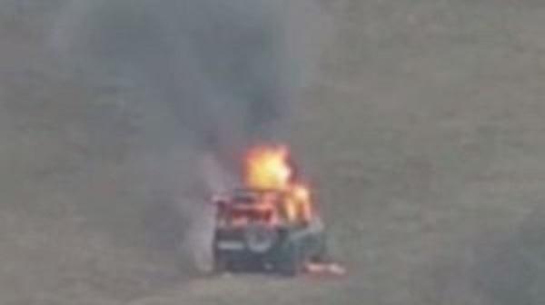 Ermənistan ordusunun kəşfiyyat qrupu Qazax tərəfdə öz UAZ-larını yandırıb qaçdı  -ViDEO