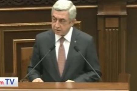Serj Sarkisyan parlamentdə hesabat verdi və Qarabağla bağlı planını açıqladı